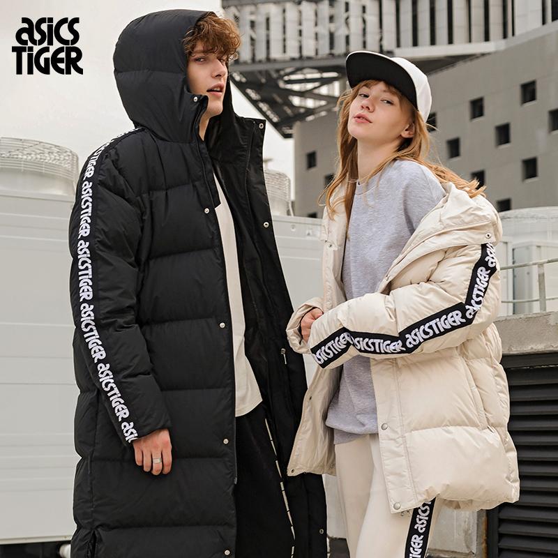 ASICSTIGER男女款侧边logo标识防风保暖中长款羽绒服2191A024