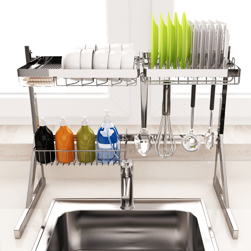 不锈钢厨房置物架水槽碗盘子沥水收纳置物架晾碗架碟收纳架家用