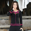Real shot autumn national style womens retro three-dimensional embroidery long-sleeved T-shirt bottoming shirt