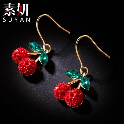 红色小樱桃耳环女士韩国气质长款耳坠金色耳挂简约可爱新年款耳钉