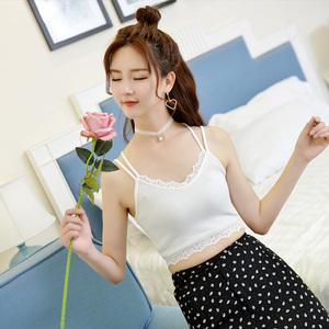女士韩版打底衫短款内搭上衣薄款蕾丝吊带背心ulzzang港味夏漏脐
