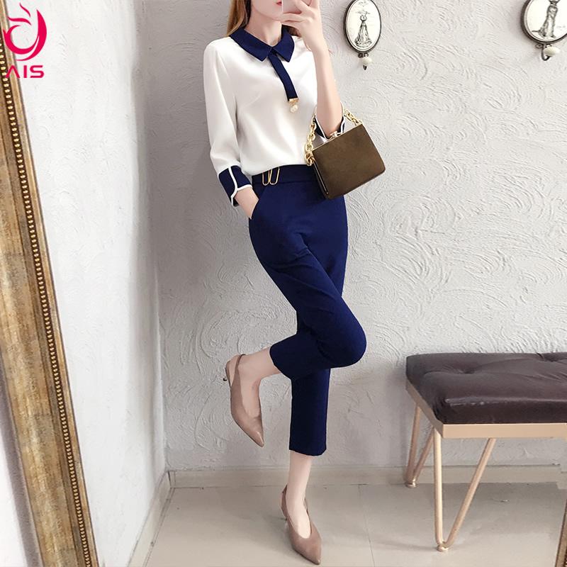 2018新款秋装韩版娇小bf风社会女时髦两件套职业OL雪纺衬衣套装