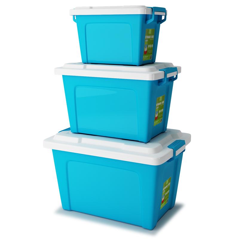 冠达星加厚塑料收纳整理箱有盖收纳盒衣服被子玩具置物周转储物箱