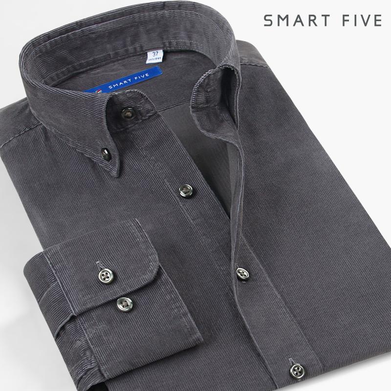 SmartFive 纯棉灯芯绒衬衫男长袖日系水洗修身时尚休闲纯色男衬衣