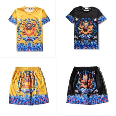 Emperor Robe Chinese style men's summer short-sleeved t-shirt clothes wear ethnic retro style compassionate 2017 new wave