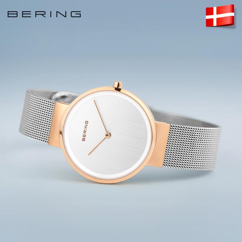 bering白令女手表防水简约玫瑰金钢带情侣腕表ins冷淡风小众手表