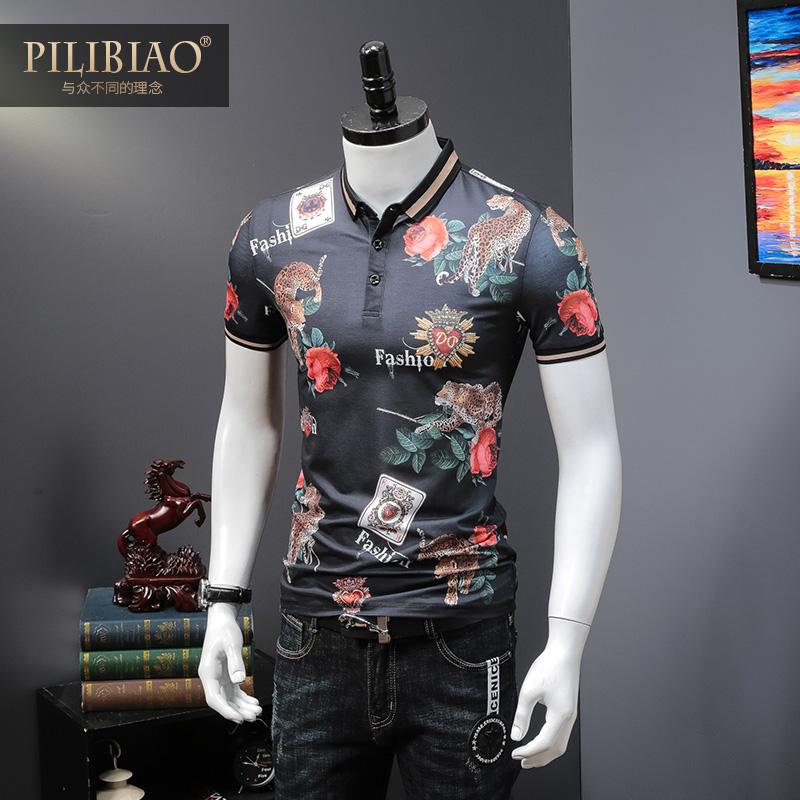 欧洲站夏季男士短袖T恤下山虎数码植物印花潮男装半袖翻领POLO衫