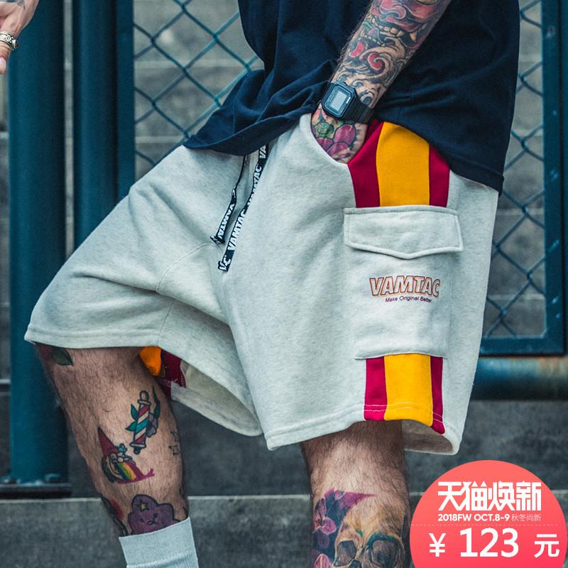 欧美潮牌嘻哈街头宽松短裤男运动五分裤hiphop街舞裤子滑板慢跑裤