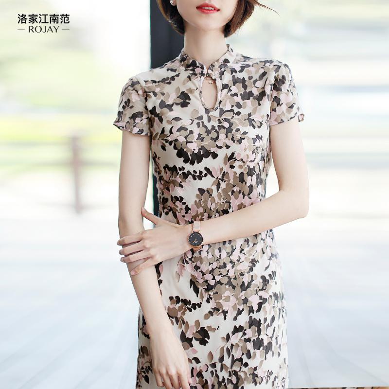 真丝旗袍连衣裙中长款改良 江南范蕾丝连衣裙复古温柔风连衣裙