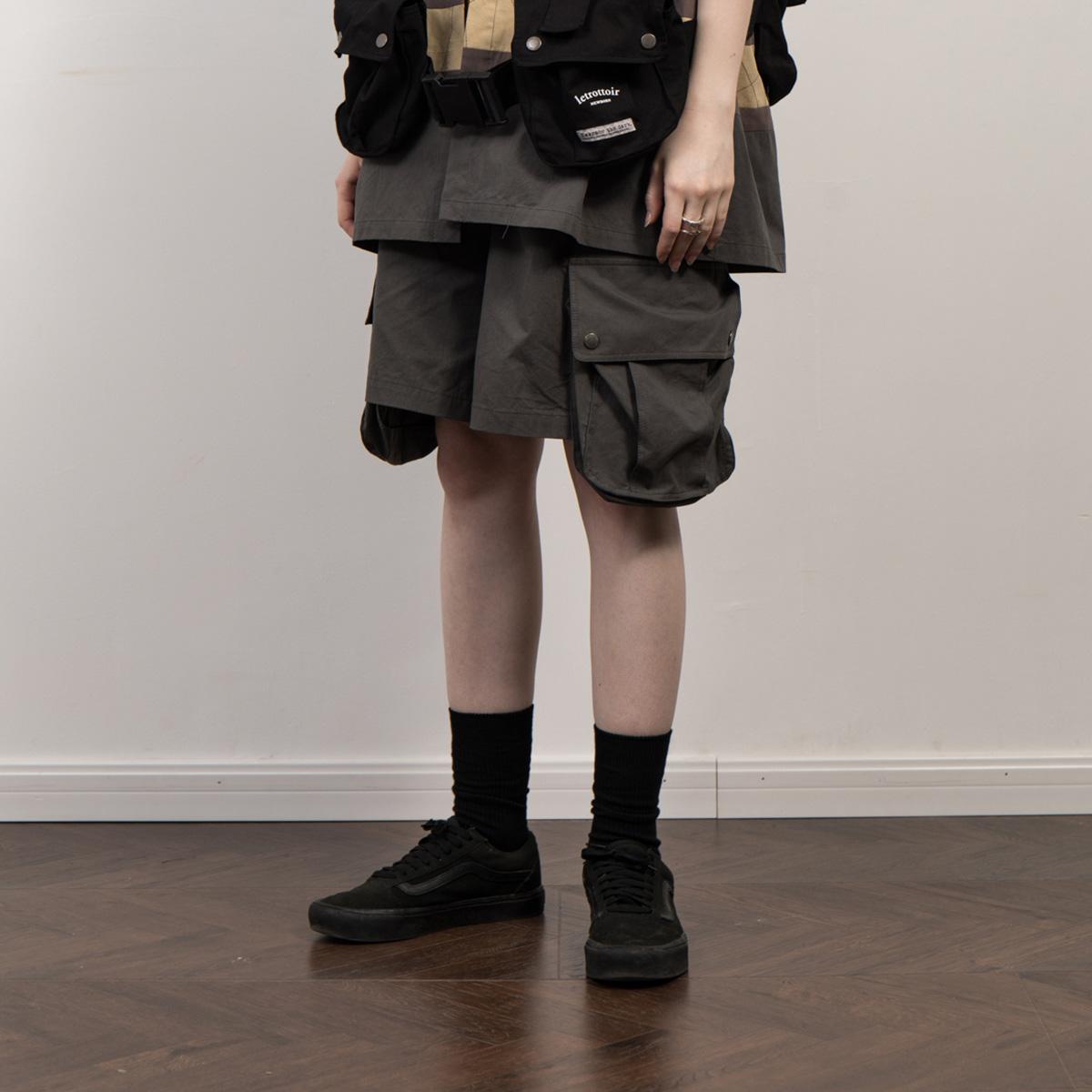 LETROTTOIR夏季潮流立体口袋中裤休闲薄款直筒宽松五分工装短裤男