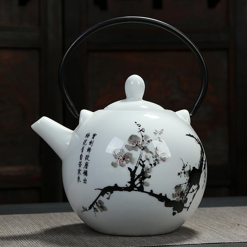 日式青花瓷陶瓷壶铁制泡墙纸手柄茶壶小茶壶单壶复古景德镇瓷壶_7折提梁的基纸图片