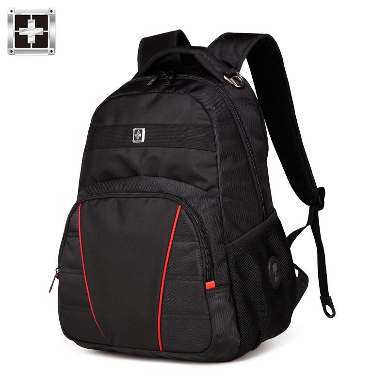 瑞士双肩包男士背包军刀商务15寸电脑包高中学生书包大容量旅行包