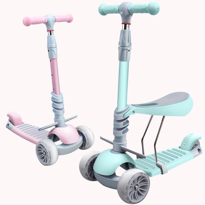 儿童滑板车3-6岁滑步车可坐闪光轮儿童平衡车1到2岁宝宝3轮踏板车