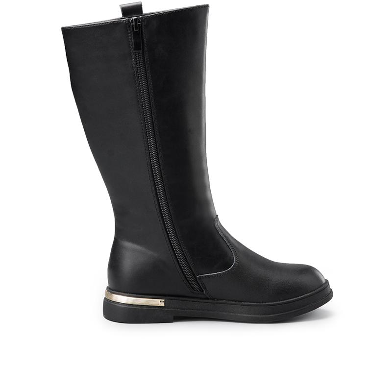 意尔康童鞋2016秋冬季短毛绒女童皮靴儿童休闲防滑中高长筒靴子产品展示图2