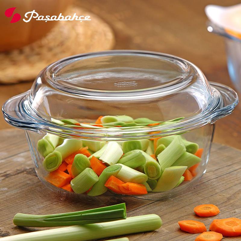 进口透明耐高温钢化玻璃锅 烤箱微波炉汤煲大号耐热蒸碗圆形烤盘