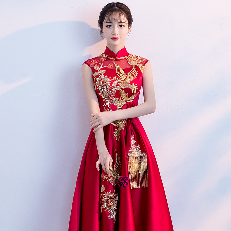 敬酒服新娘夏季2018新款红色中长款中式显瘦优雅结婚晚礼服女修身