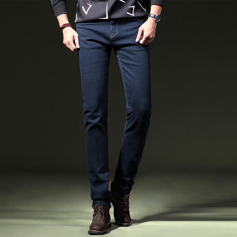 秋季高弹力黑色牛仔裤男韩版潮流