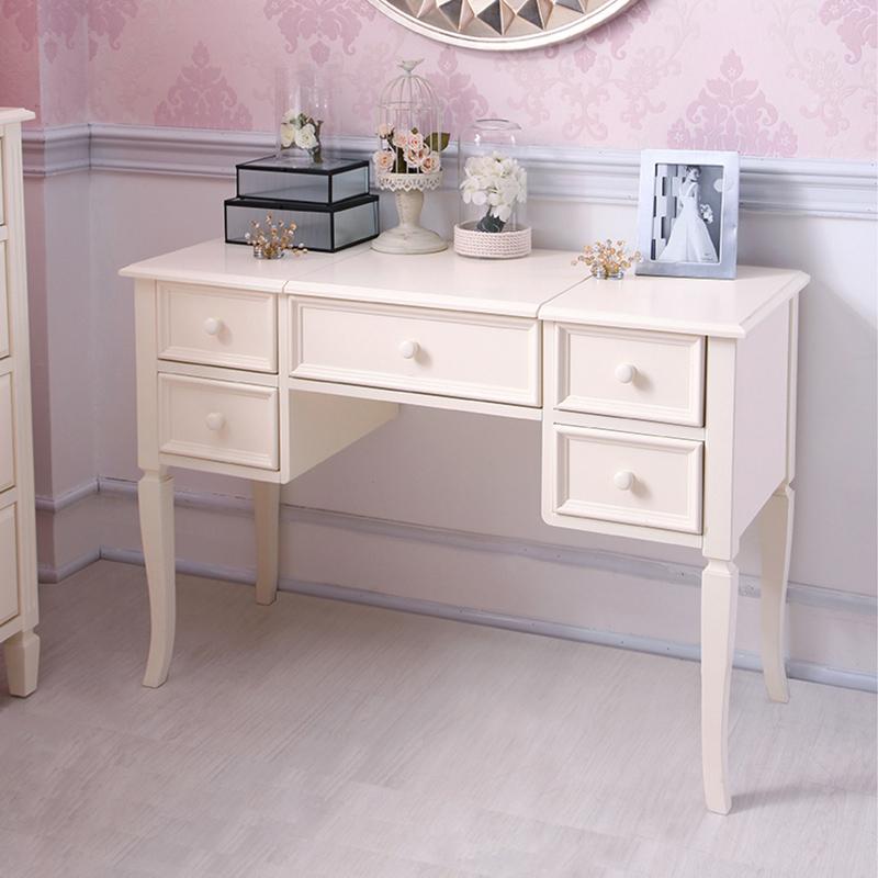 喜梦宝松木实木家具欧式实木梳妆台梳妆镜储物桌女王范浪漫象牙白