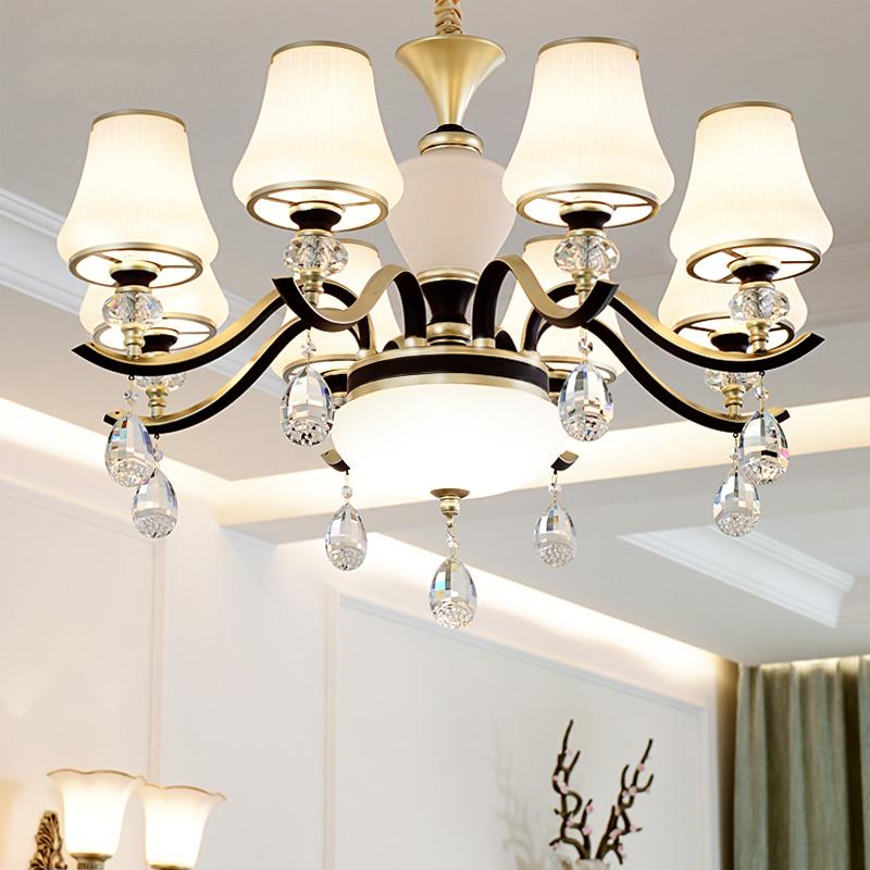 水晶客厅吊灯欧式简约主卧室房间灯温馨美式餐厅灯简欧吊灯具灯饰