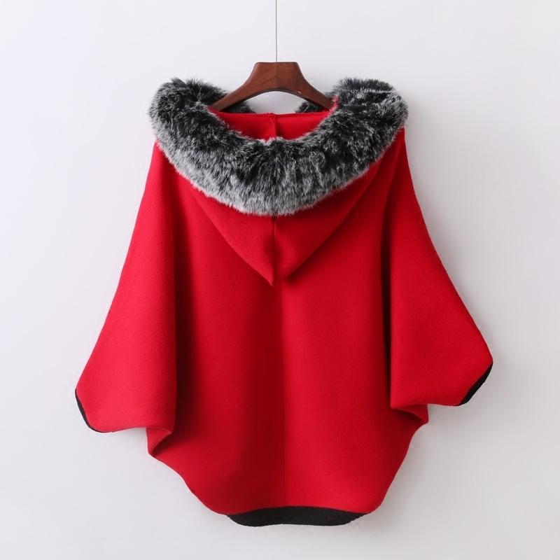 2018秋冬新款韩版蝙蝠衫加厚连帽拉链保暖带毛领女士毛衣外套开衫