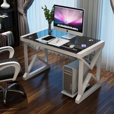 2平米 简约现代桌子 钢化玻璃电脑桌台式家用办公桌 简易学习书桌写字台