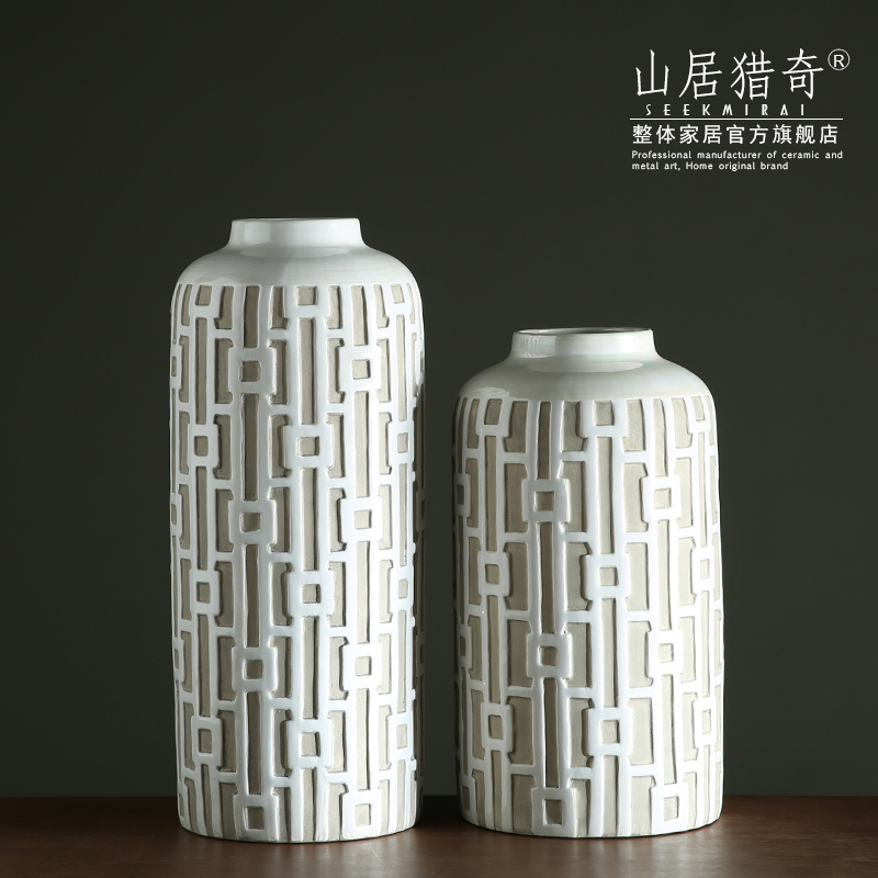 Modern new Chinese style, black white ceramic art big vase sitting room adornment study ancient window straight bottle