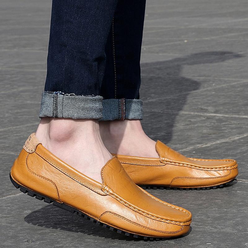 男士皮鞋秋季新款真皮休闲鞋男软底软面皮懒人豆豆鞋子男时尚潮鞋