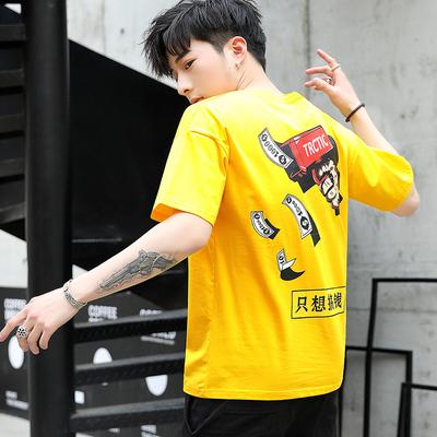 夏季男士短袖T恤2019新款短袖男潮牌T恤修身潮流半截袖嘻哈T恤男