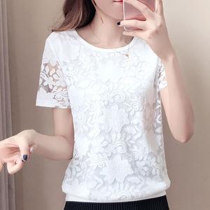 蕾丝上衣打底衫女夏季2018新款韩版时尚气质甜美夏装宽松遮肚子潮
