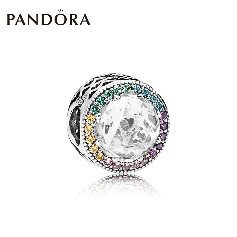 PANDORA潘多拉 缤纷闪亮的心925银串饰791725CZMX简约DIY串珠女