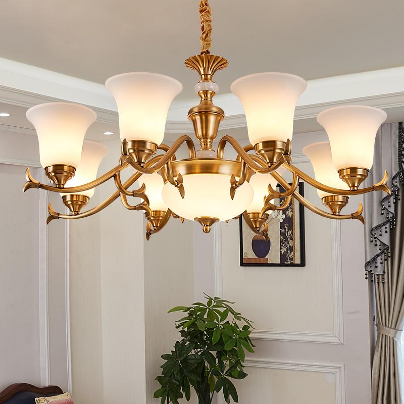 欧式全铜吊灯客厅灯具现代简约LED卧室餐厅灯奢华大气别墅铜吊灯