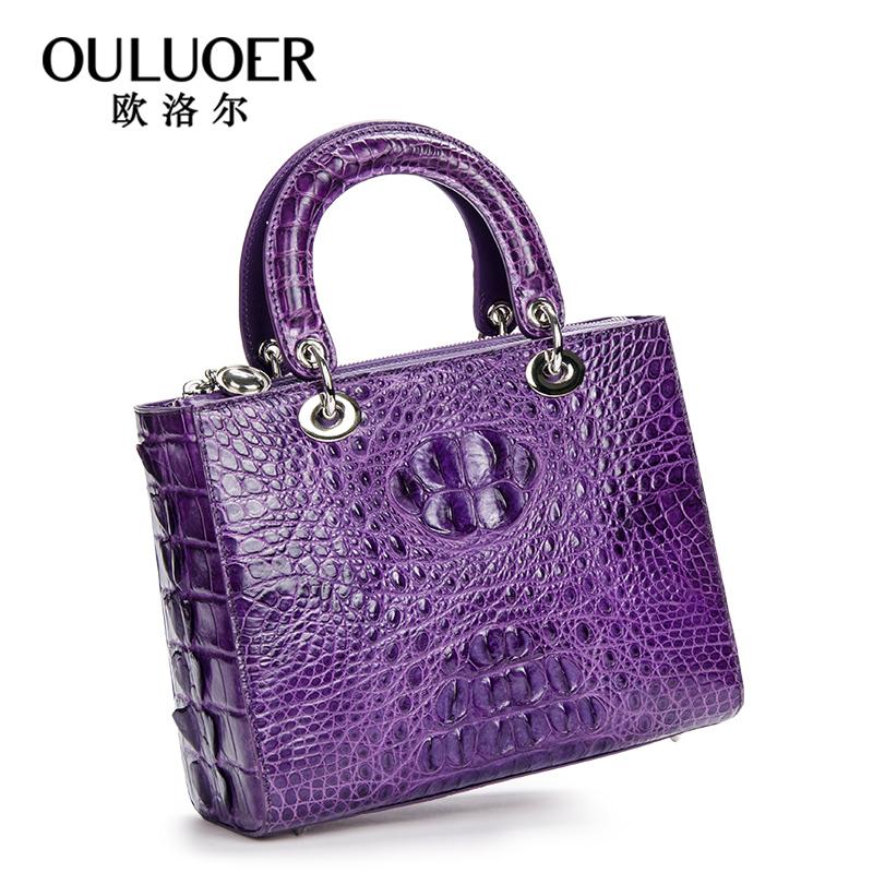 欧洛尔进口泰国鳄鱼皮手提包女士大容量小方包时尚经典奢华戴妃包