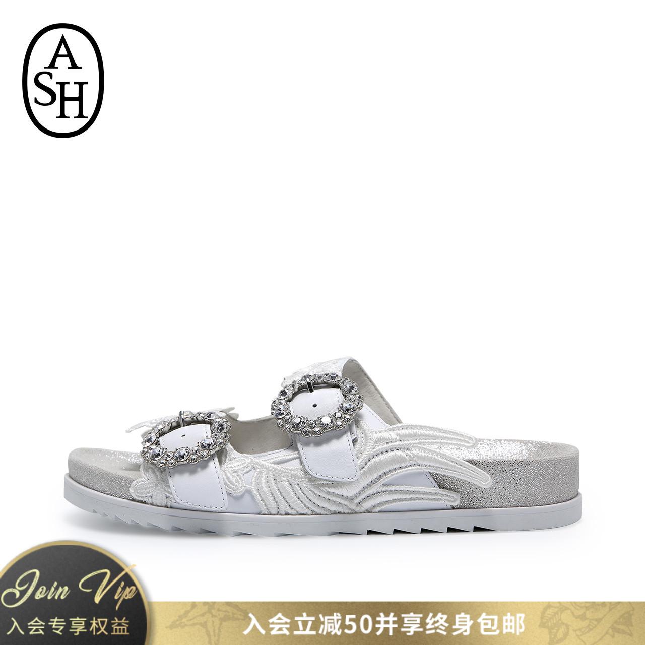 ASH女鞋2018夏季新款UMA系列性感羽毛装饰羊皮双排搭扣凉鞋