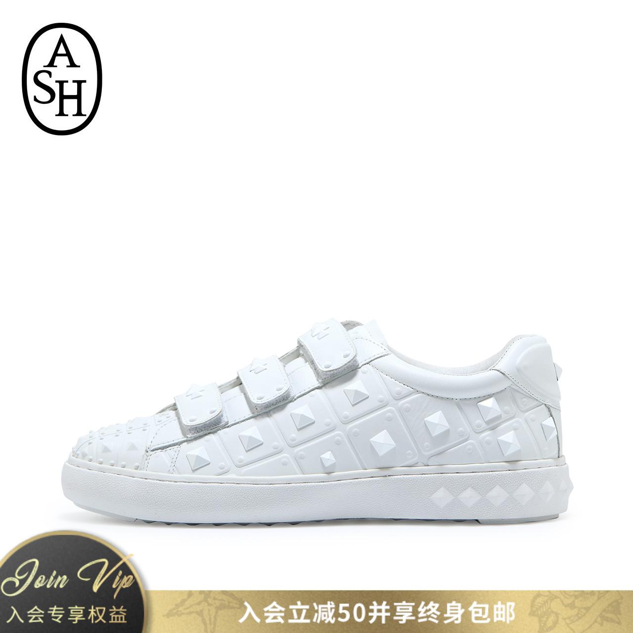 ASH女鞋早秋新款PEACE铆钉魔术贴休闲低帮单鞋滑板鞋小白鞋女