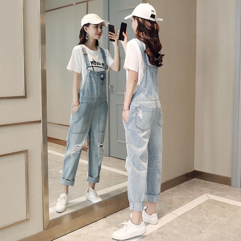 破洞牛仔背带裤显高两件套女2018夏季新款韩版宽松显瘦高腰套装潮