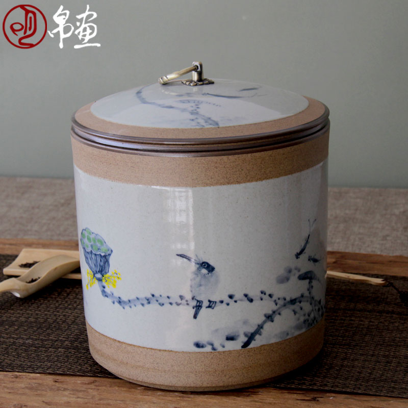 Shadow at jingdezhen ceramic POTS caddy fixings shengchan dui manual painting big tea cake box of of primitive simplicity tea urn JH
