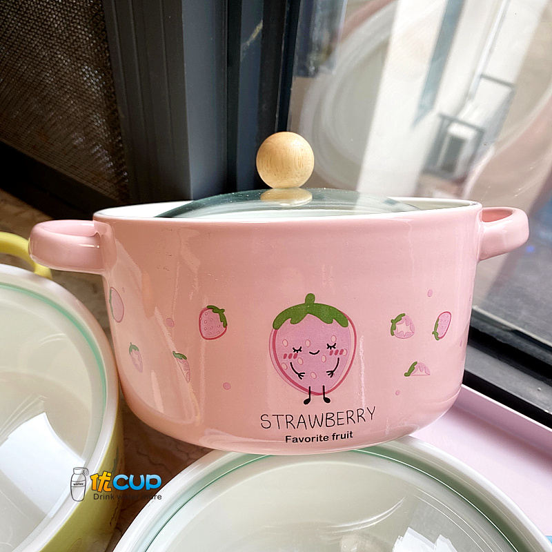 Korean lovely ceramic terms rainbow such as bowl with cover girl heart strawberry but avocado ear soup bowl salad bowl students home