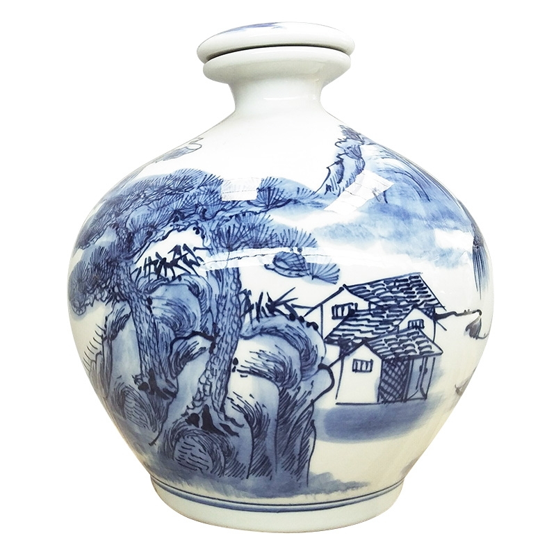 Qiao mu classical jingdezhen blue and white ceramic bottle 5 jins of hand - made of hand - made small expressions using sealed empty jars liquor container
