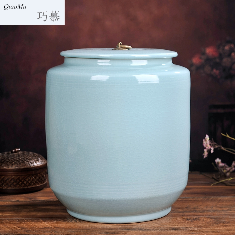 Qiao mu jingdezhen ceramic ricer box barrel storage bins 15 pounds 25 kg sealed with cover household moistureproof prevent storage tank