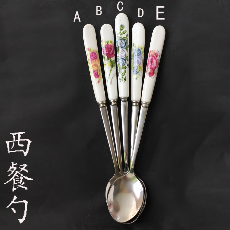 Qiao mu creative coffee spoon handle stainless steel coffee spoon stir Korean milk tea ceramic long the move