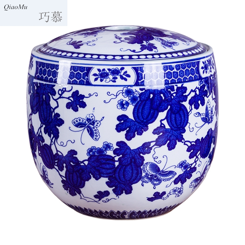 Qiao longed for blue and white porcelain barrel ricer box jars jingdezhen porcelain piggy bank storage tank 15 kg caddy fixings