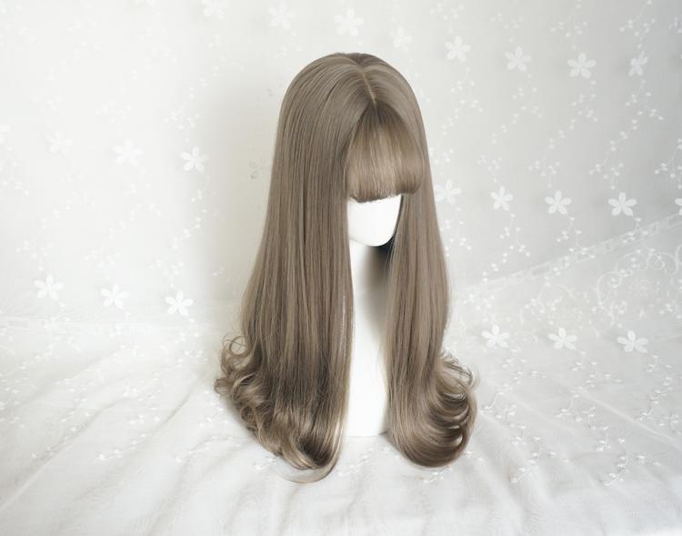美立方假发女生中长发卷发发尾微卷青木灰高温丝整顶假发图片