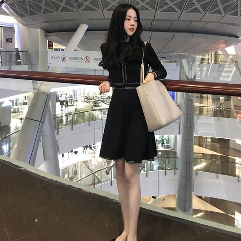 黑色连衣裙2018秋冬装新款韩版显瘦中长款蝴蝶结a字赫本小黑裙