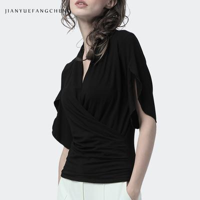 简约方程欧洲站2018夏黑色V领雪纺衫上衣女洋气显瘦时尚性感收腰欧货小衫
