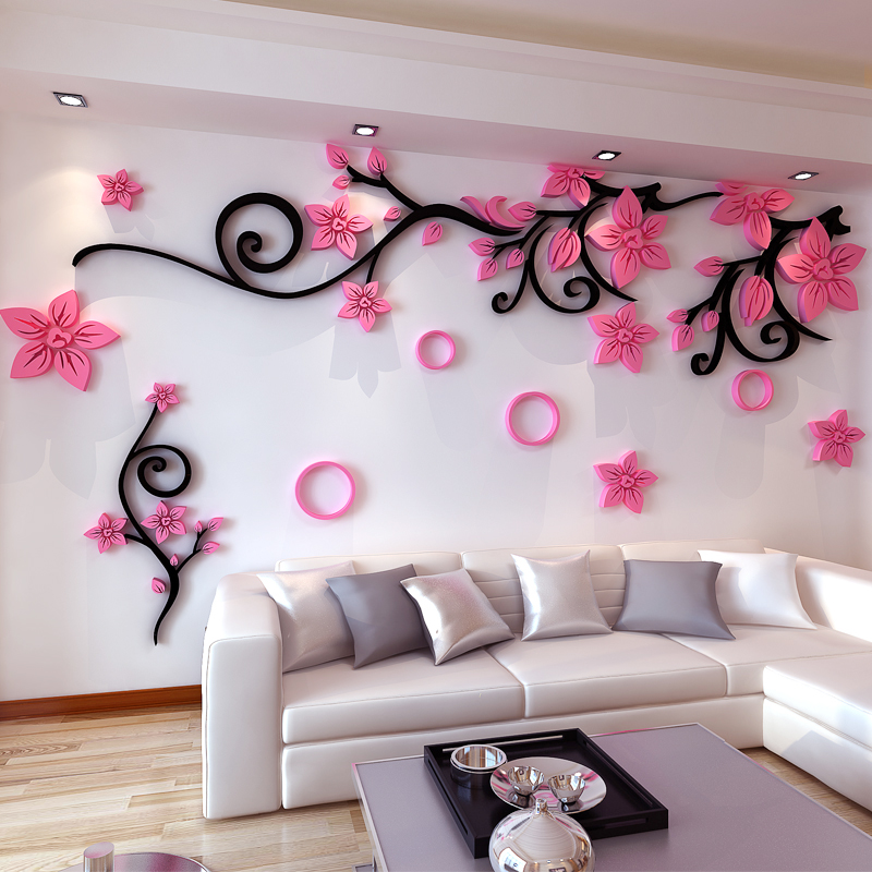 Acrylic Flower Vine Crystal 3D Wall Sticker Living Room Bedroom TV  Background Wall Sticker Warm Wall Decoration