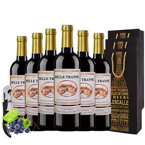 百丽科比埃干红葡萄酒法国进口红酒6瓶装750ml*6瓶原瓶进口包邮