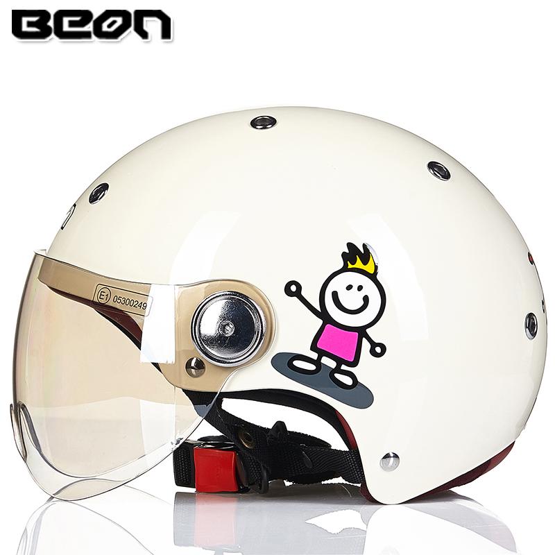 新款BEON摩托车头盔男女士复古半盔四季防晒电动车夏季半覆式头盔