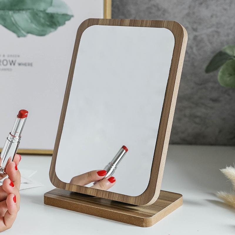 木质台式化妆镜子女可立折叠单面梳妆镜学生便携宿舍桌面镜大号小