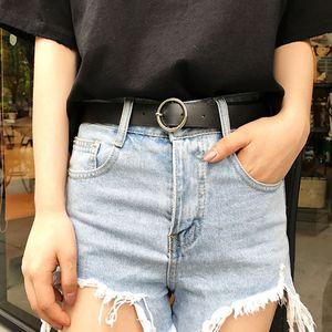 时尚腰带女装饰bf风韩版学生圆环复古皮带女简约百搭韩国黑色裤带
