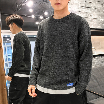 Sweater Men Autumn and Winter New Korean Version Velvel Thick Fake Two Pieces Bottoming Sweater 061127